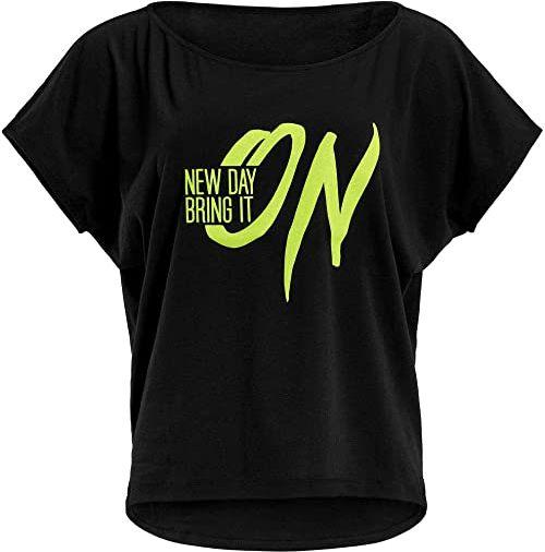 WINSHAPE Damska koszulka Winshape Damen Ultra Leichtes Modal-kurzarmshirt Mct002 Mit Neon Gelbem ''New Day Bring It On'' Glitzer-aufdruck T-shirt Schwarz-neon-gelb-Glitter M