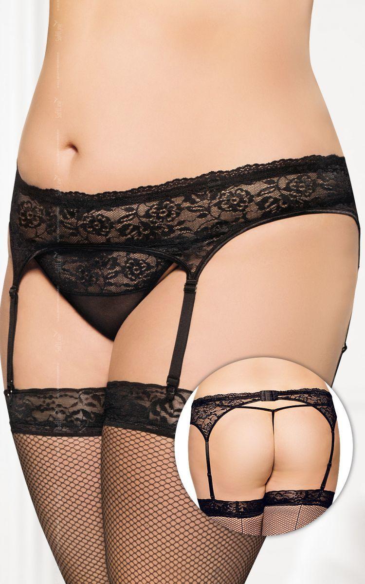 Garterbelt 3305 - Plus Size - black pas do pończoch i stringi