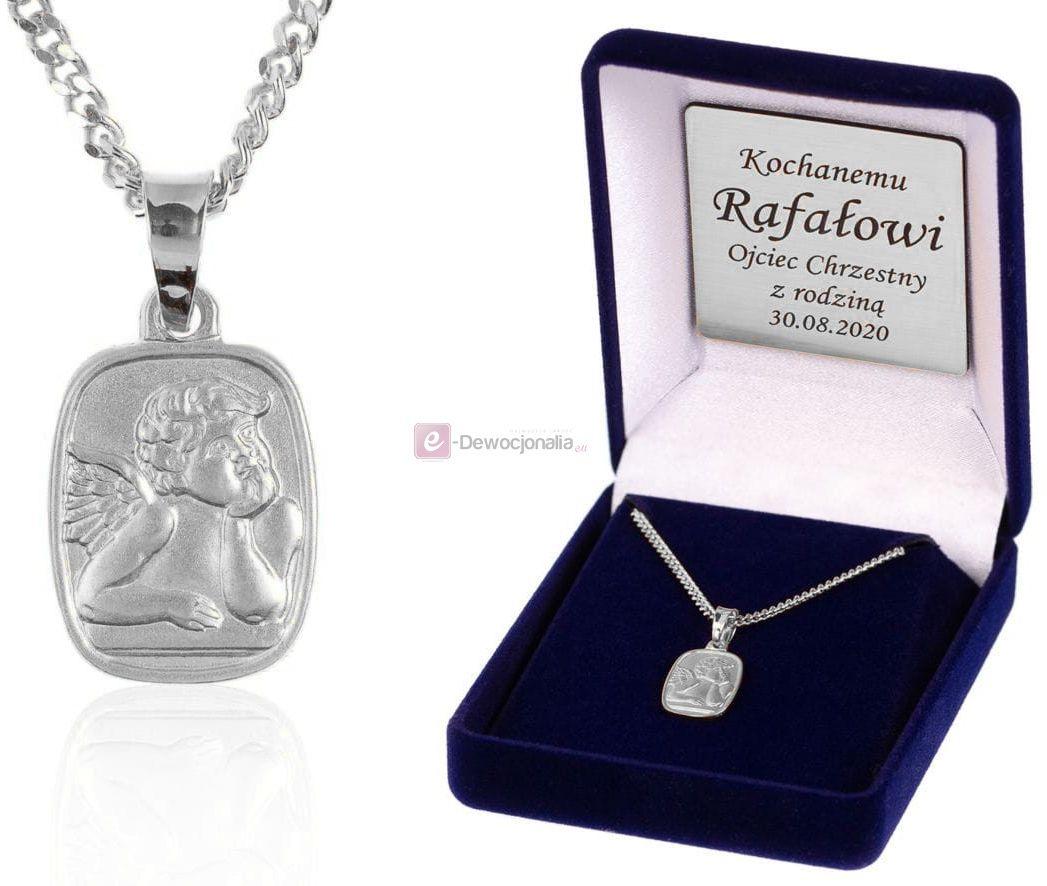 Srebrny medalik ANIOŁEK łańcuszek pr. 925 DEDYKACJA - Pamiątka Prezent