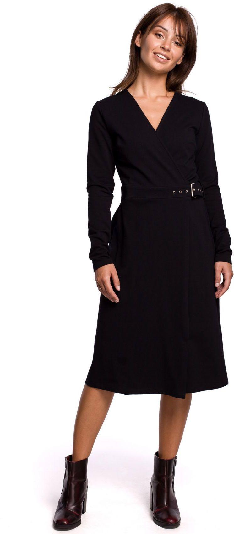 B161 Sukienka z kopertową górą - czarna