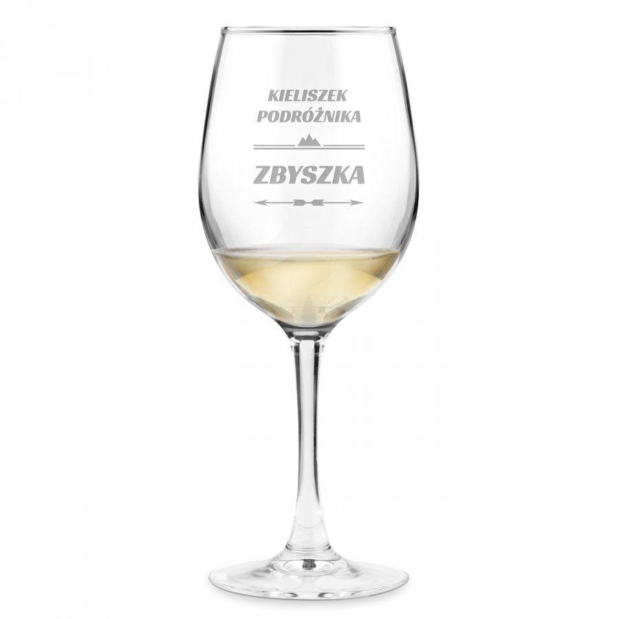 Kieliszek szklany do wina grawer róża wiatrów dla podróżnika