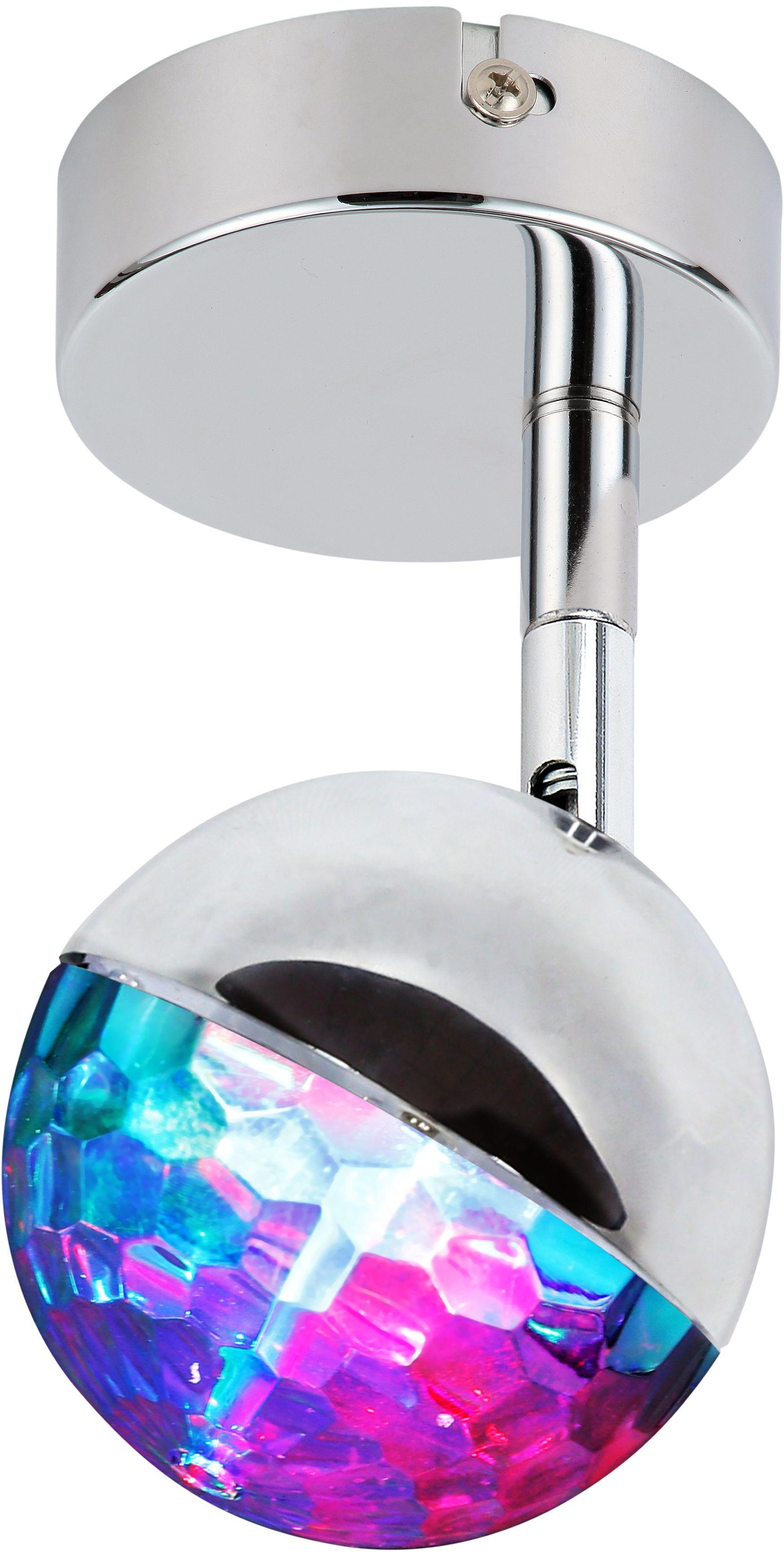 Candellux PARTY 91-67753 kinkiet lampa ścienna dyskotekowy efekt 1X3W LED RGB główka okrągła chrom 15cm