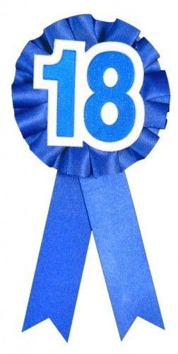 Kotylion urodzinowy, na 18 urodziny, niebieski