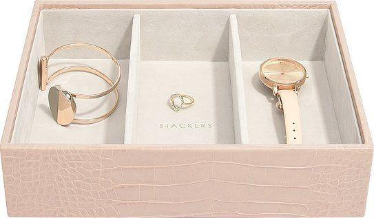 Szkatułka na biżuterię stackers croc 3 komorowa classic różowa