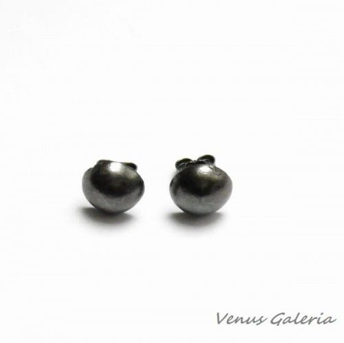 Czarne guziczki - kolczyki srebrne