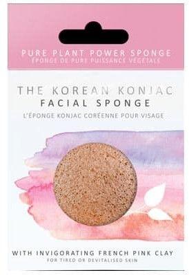 Gąbka Konjac Premium z różową glinką do cery wrażliwej, zmęczonej, niedożywionej i odwodnionej
