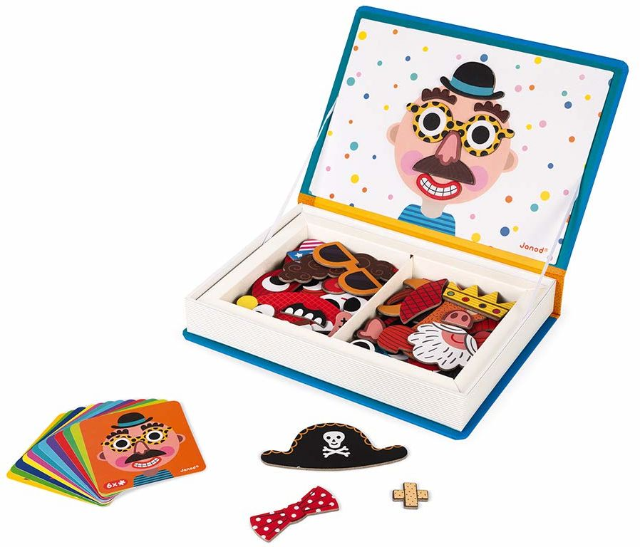 Janod J02716 Magneti''Book Crazy Faces zabawka edukacyjna, chłopcy