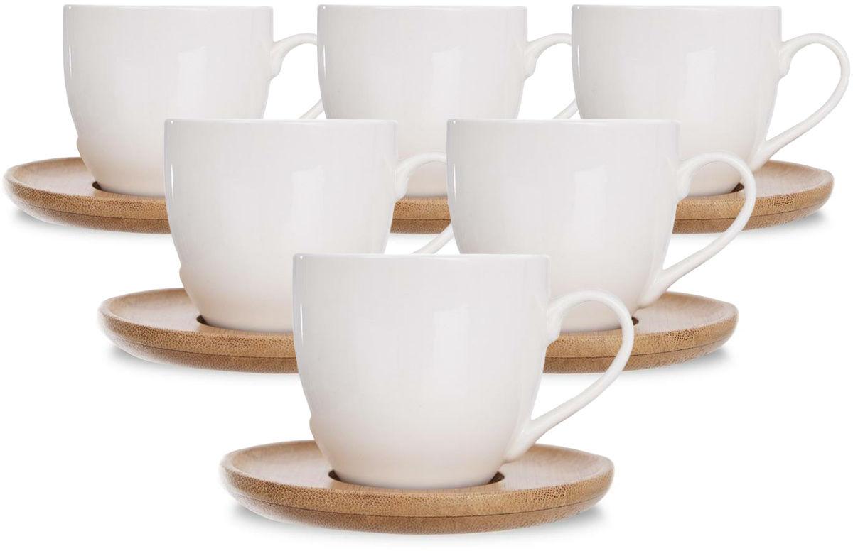 Orion Komplet prezentowy filiżanek porcelanowych z talerzykami Bambu, 6 szt.