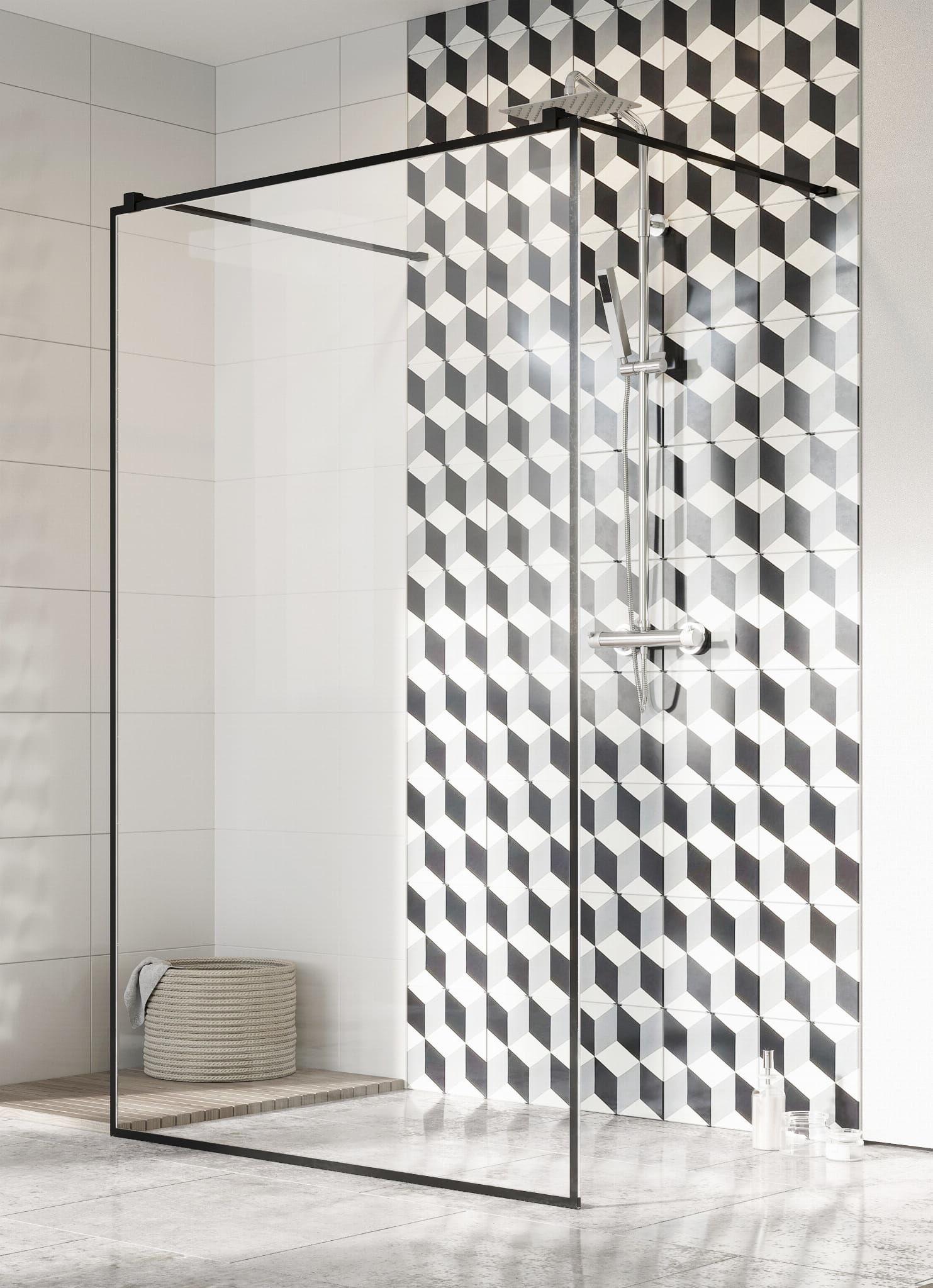 Kabina prysznicowa Walk-In Radaway Modo New Black I Frame 130 cm, szkło przejrzyste, wys. 200 cm 388134-54-58
