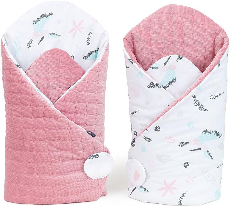 MAMO-TATO Rożek niemowlęcy dwustronny velvet LUX - Koliberki / różany