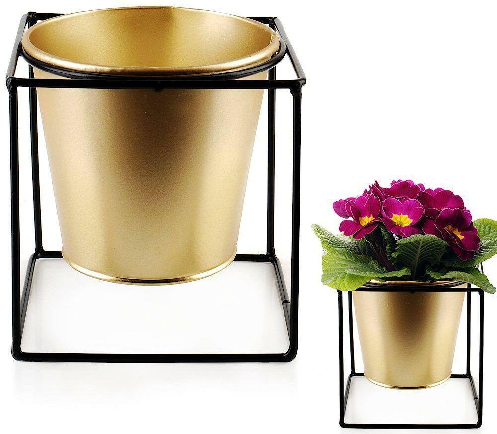 Osłonka doniczka metalowa na stojaku złota czarna na rośliny kwiat 11x11 cm
