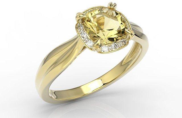 Pierścionek z żółtego złota z cytrynem i brylantami ap-45z-r