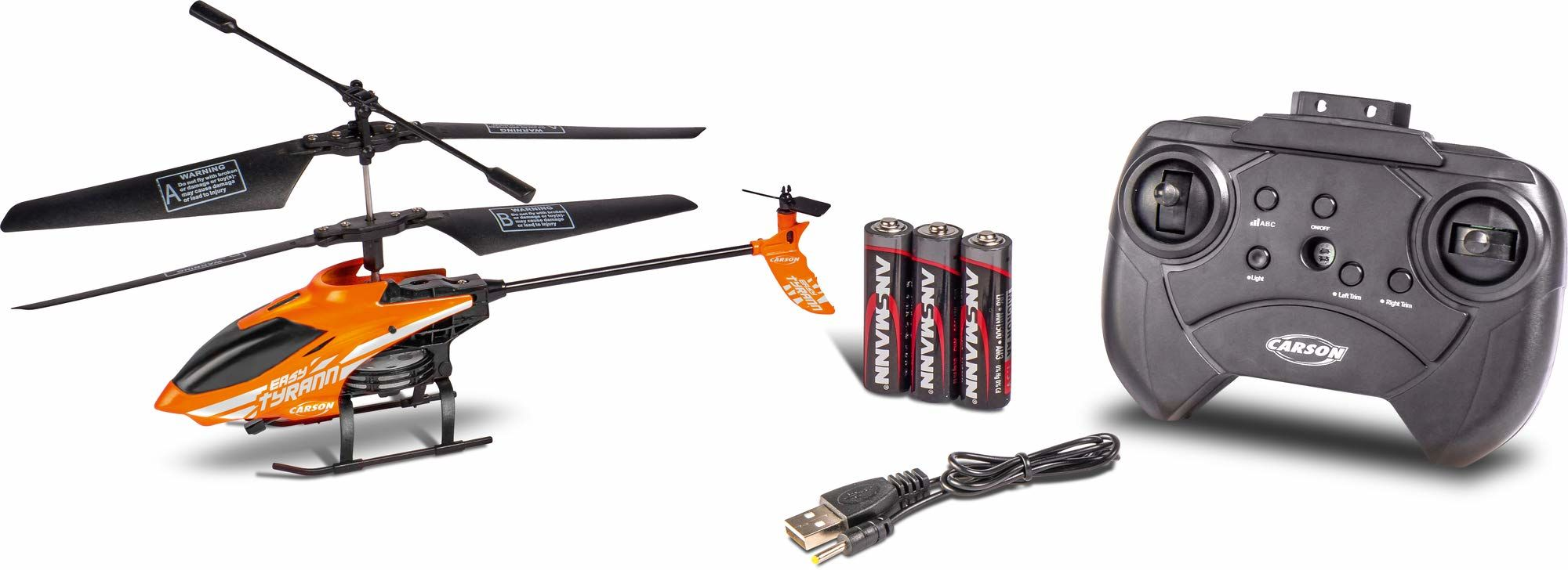Carson 500507155 Nano Tyrann 230 Gyro IR 2CH, 100% gotowy do lotu, zdalnie sterowany helikopter RC, w zestawie baterie i pilot zdalnego sterowania