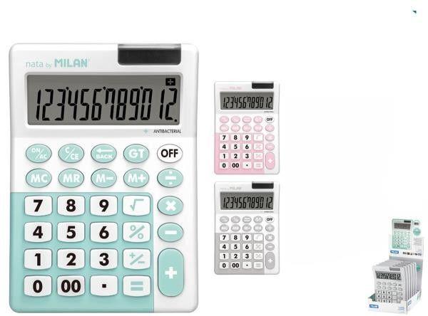 Kalkulator 12 pozycyjny MILAN mix kolorów antybakteryjny 1szt. /159706IBG/