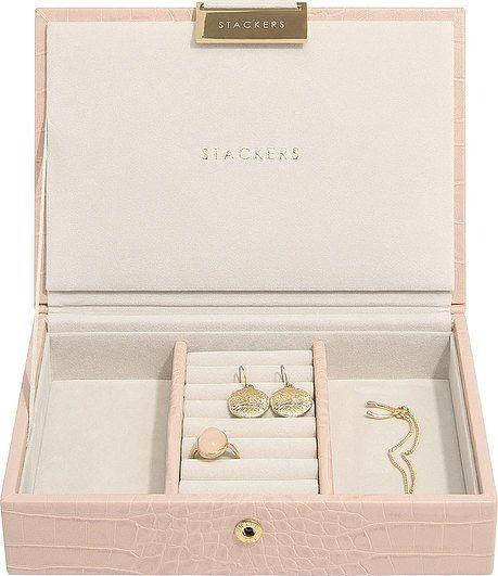 Szkatułka na biżuterię stackers croc mini różowa z pokrywką