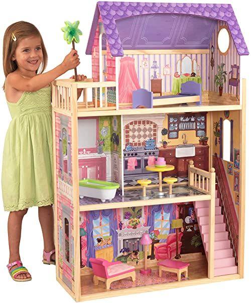"""KidKraft 65092 Kayla drewniany domek dla lalek z meblami i akcesoriami w zestawie, 3-piętrowy zestaw do zabawy dla lalek 30 cm / 12"""""""