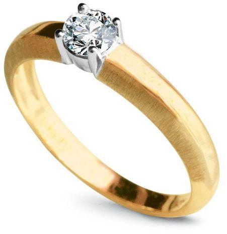 Staviori pierścionek zaręczynowy. 1 diament, szlif brylantowy, masa 0,25 ct., barwa g, czystość si1. żółte, białe złoto 0,750.