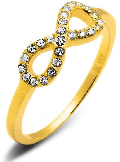 Pierścionek Srebrny Nieskończoność Pokryta Złotem