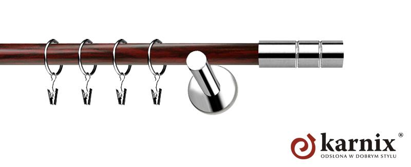 Karnisze Nowoczesne NEO Prestige pojedynczy 19mm Cylinder INOX - mahoń