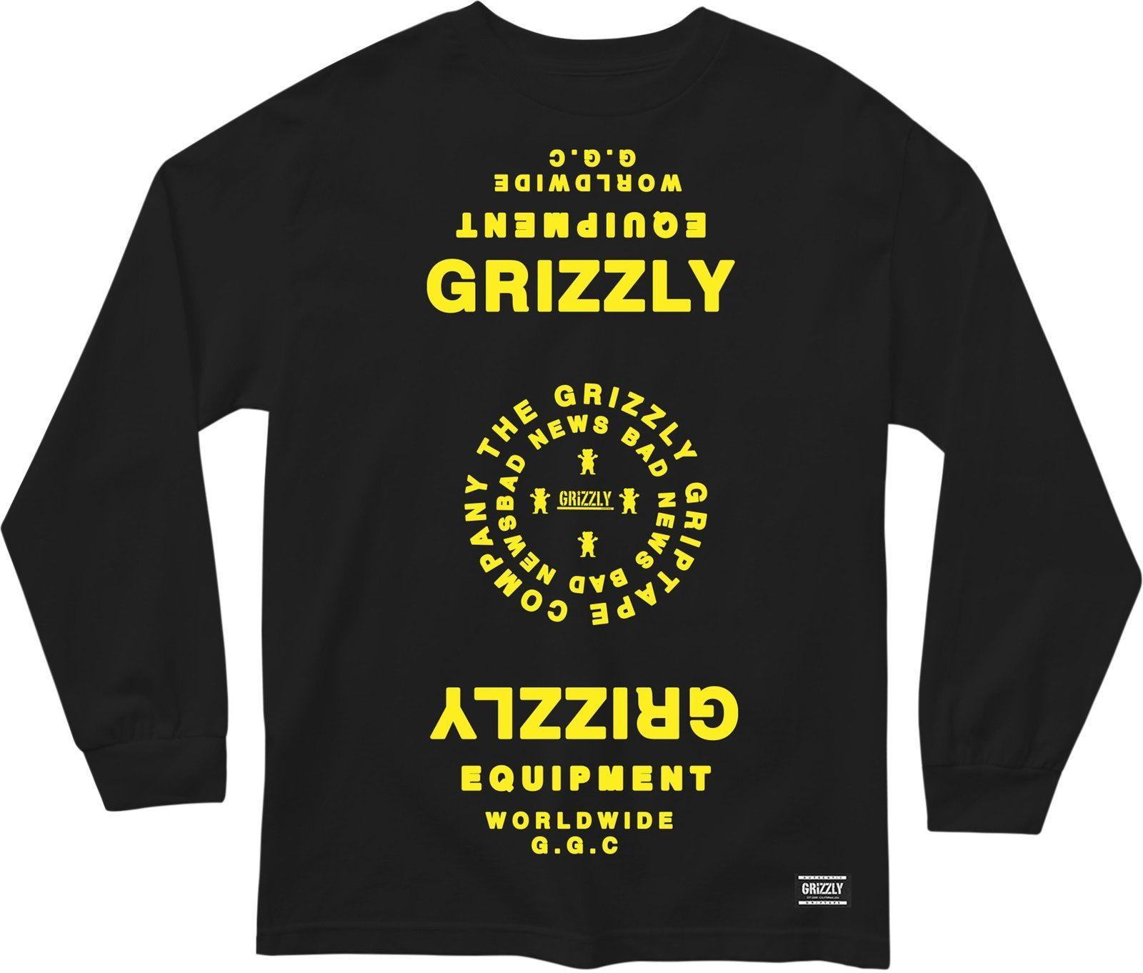 t-shirt męski GRIZZLY MIRRORED LS TEE Black