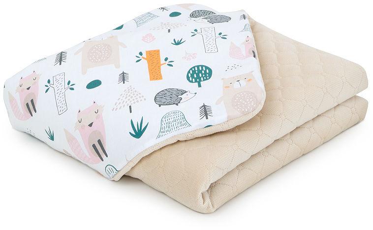 MAMO-TATO Kocyk dla dzieci i niemowląt 75x100 LUX Velvet pikowany dwustronny - Forest / piaskowy