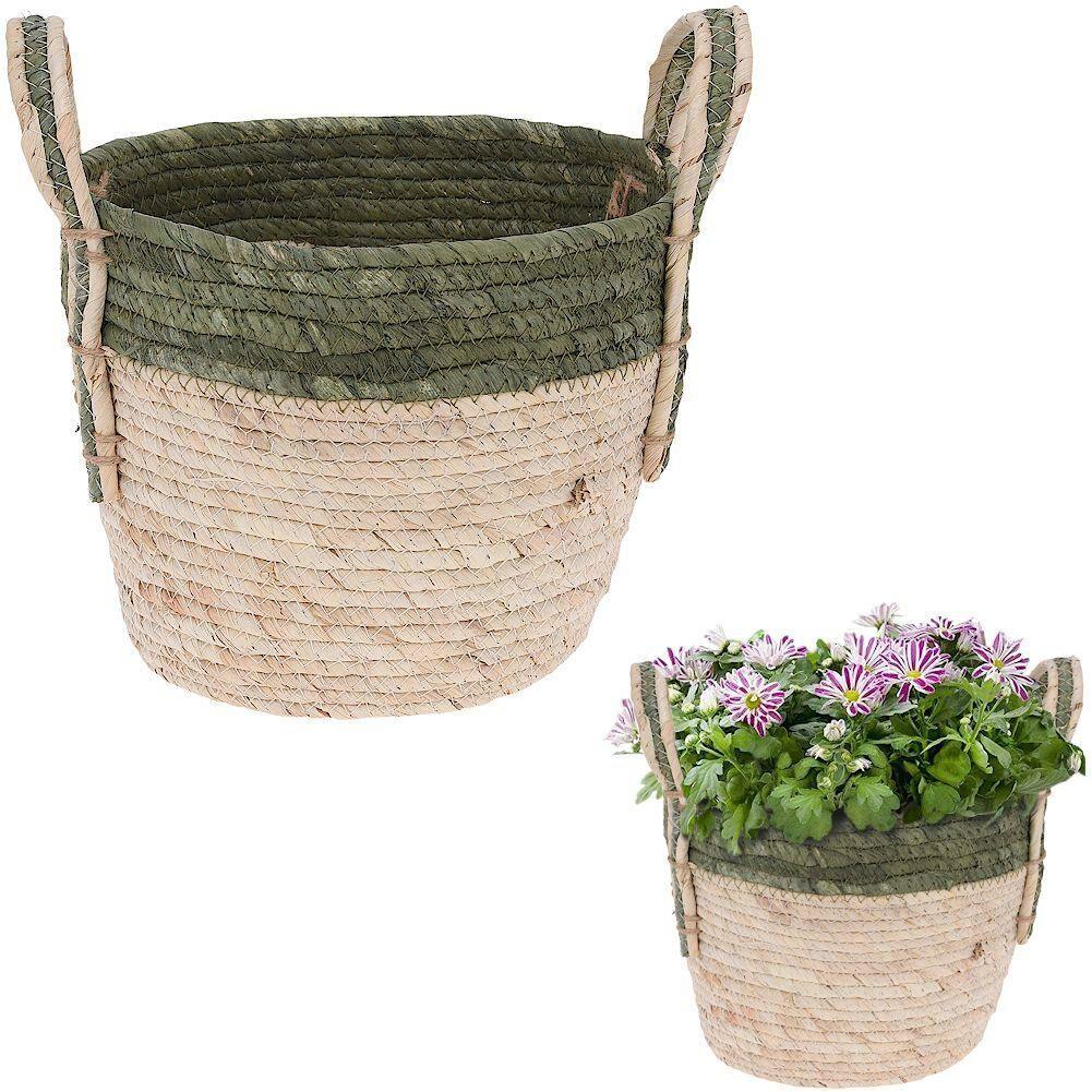 Osłonka donica doniczka KOSZ BOHO koszyk pleciony z trawy morskiej na doniczkę rośliny do przechowywania 24x19 cm