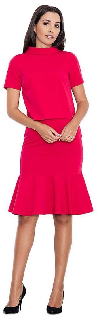 Czerwona ołówkowa spódnica midi z falbanką