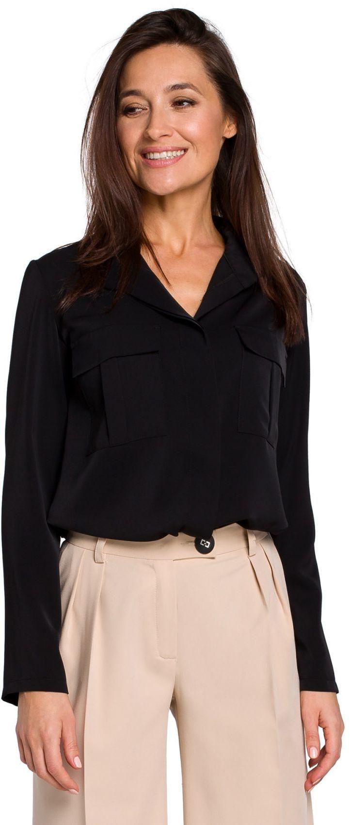 S144 Bluzka koszulowa z kieszeniami - czarna