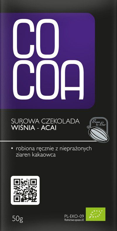 Czekolada Ekologiczna z Jagodami Acai i Wiśnią 50g - COCOA EKO