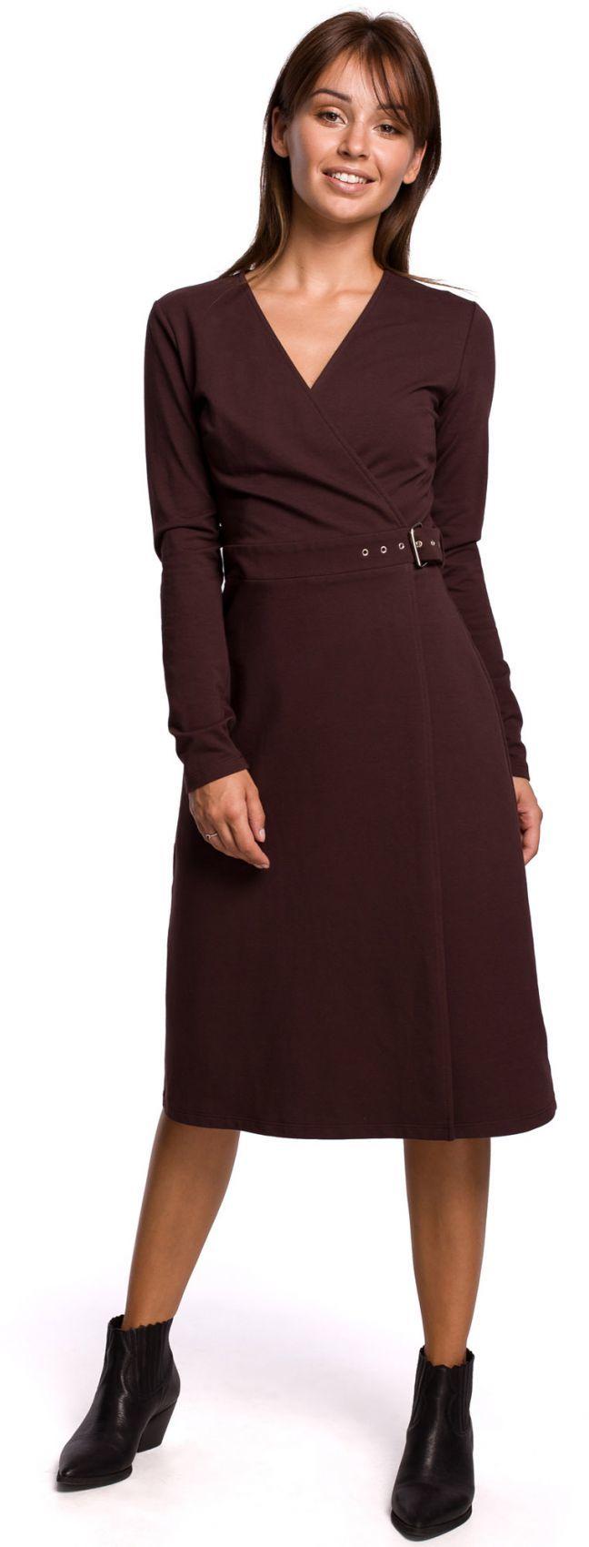 B161 Sukienka z kopertową górą - brązowa