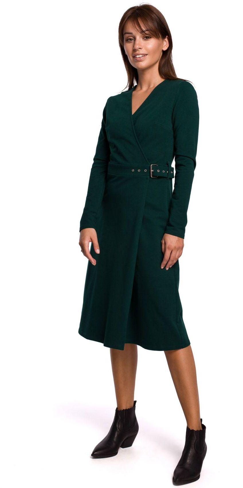 B161 Sukienka z kopertową górą - ciemnozielona