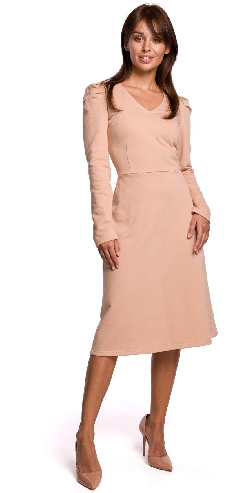 B162 Sukienka z bufkami - beżowa