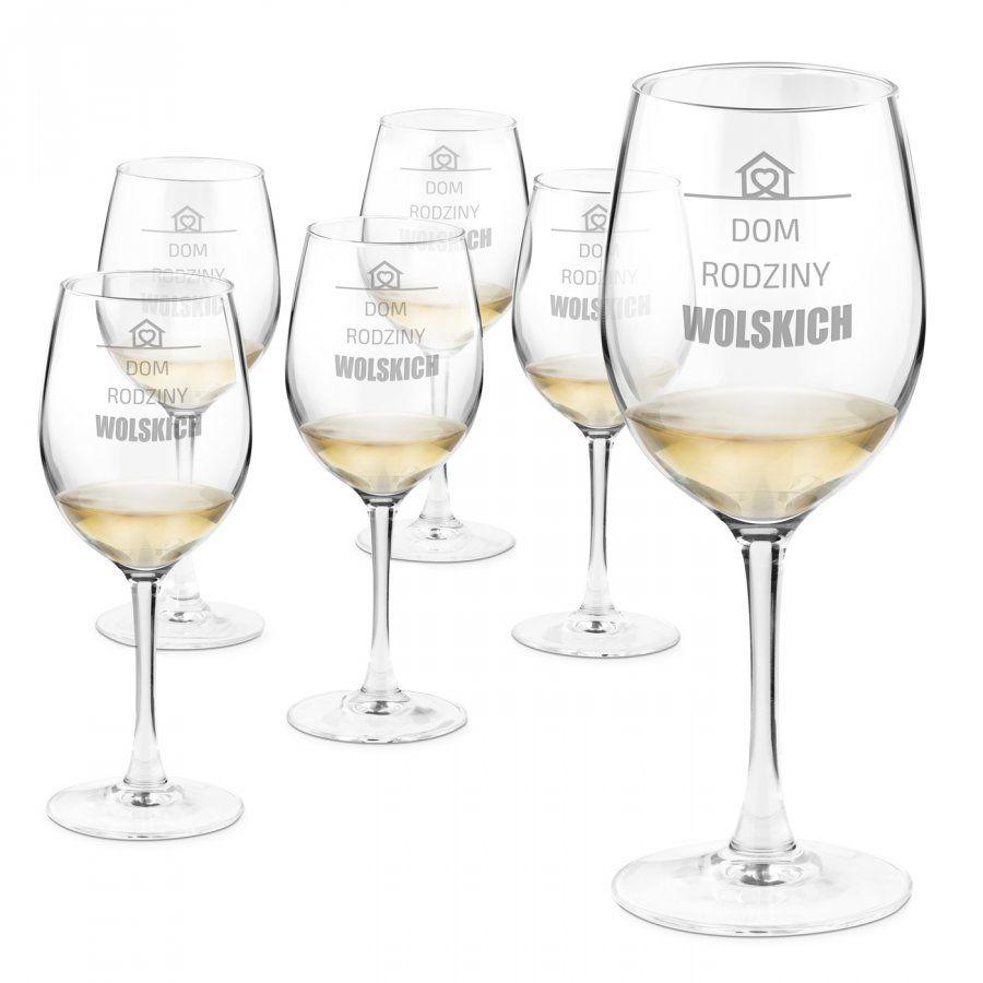 Kieliszki szklane do wina zestaw x6 z grawerem dla pary na parapetówkę