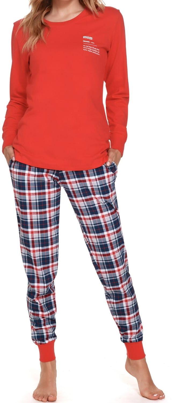 Bawełniana piżama damska Dn-nightwear PM.4363 czerwona