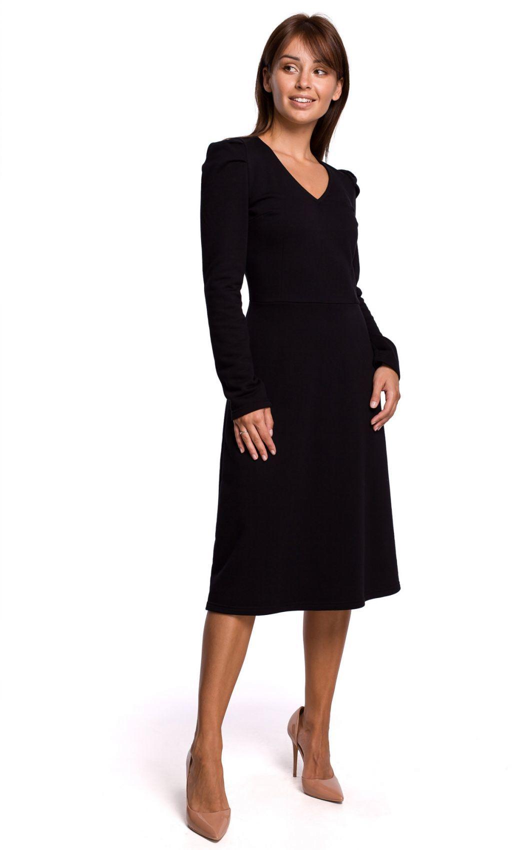 B162 Sukienka z bufkami - czarna