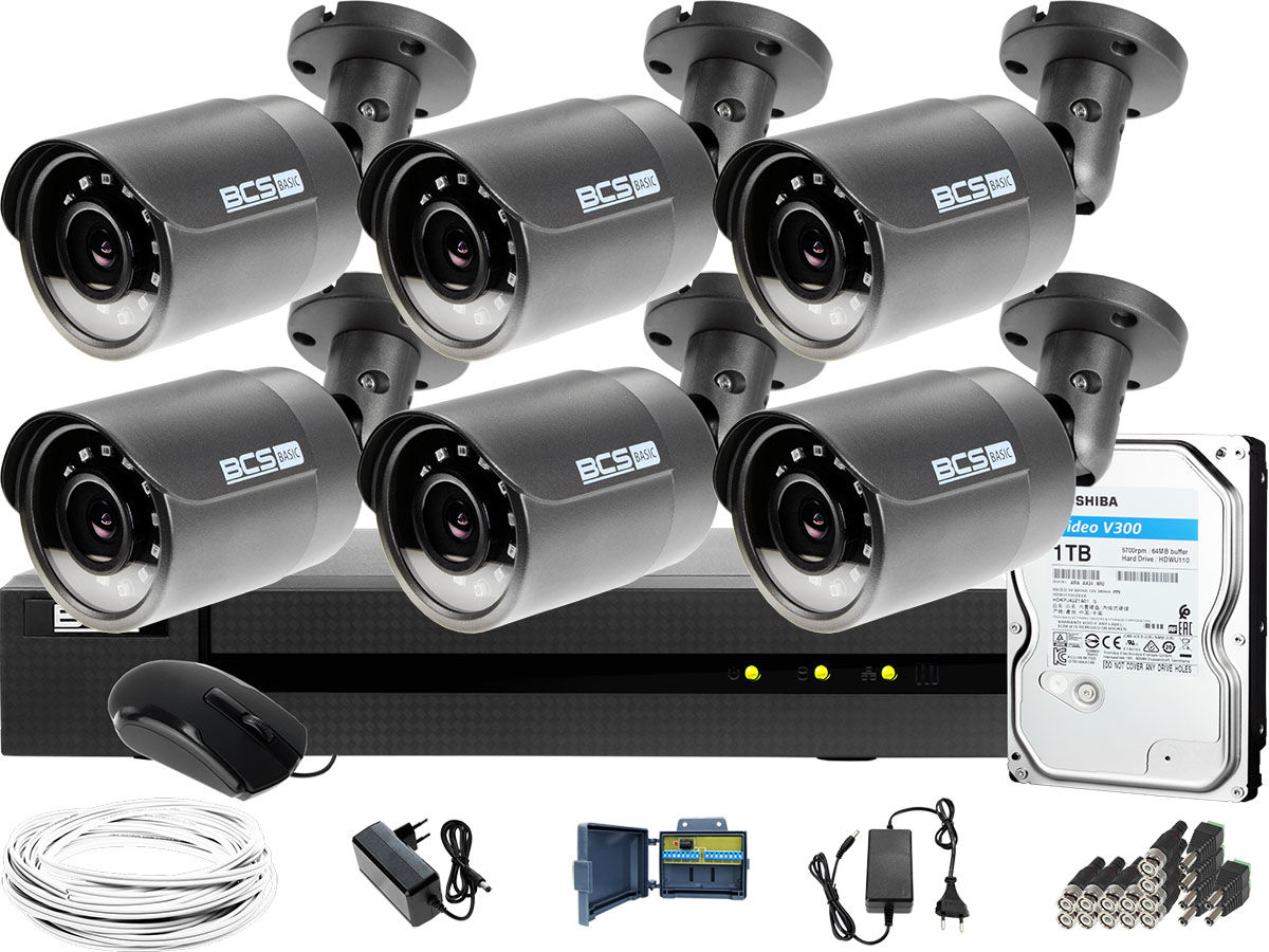 Monitoring Full HD BCS Basic Full HD 2MPx 1TB H265+ 6 x Kamera tubowa 2.8mm IR 30m