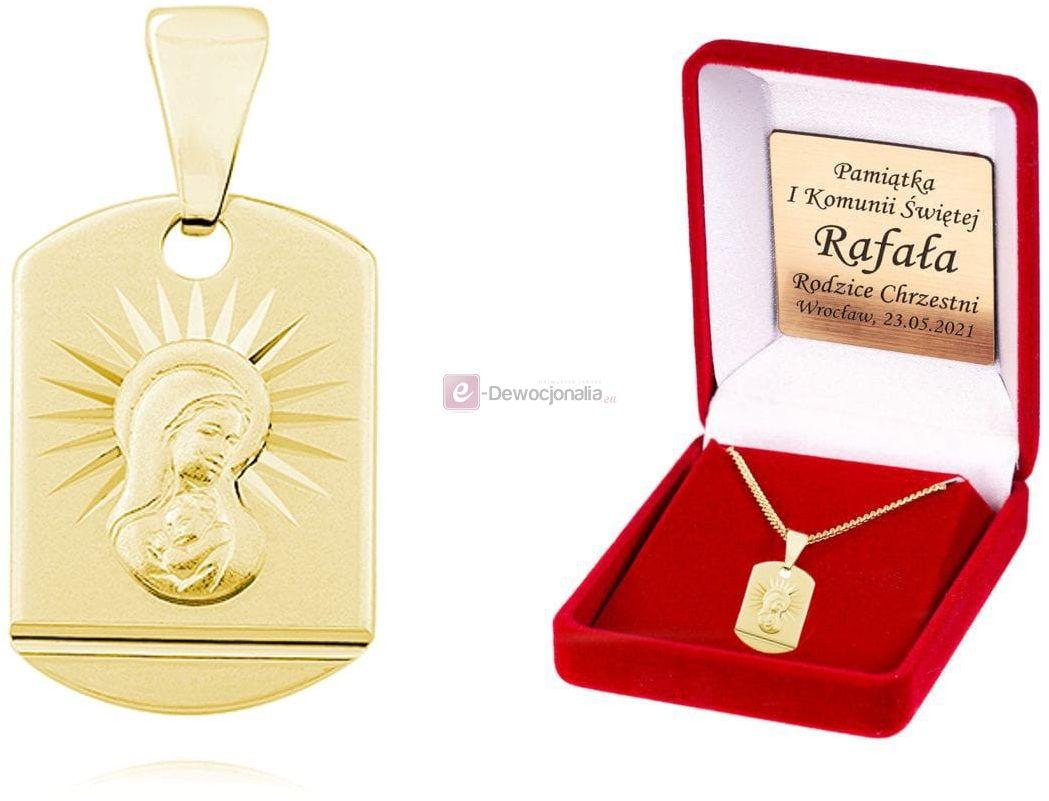 Srebrny (pr.925) pozłacany medalik Matka Boska Madonna łańcuszek DEDYKACJA - Pamiątka Prezent