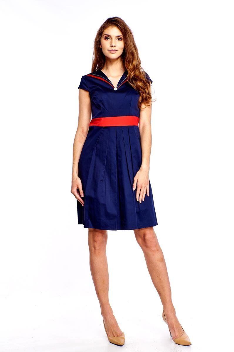 Sukienka FSU265 GRANATOWY CZERWONY