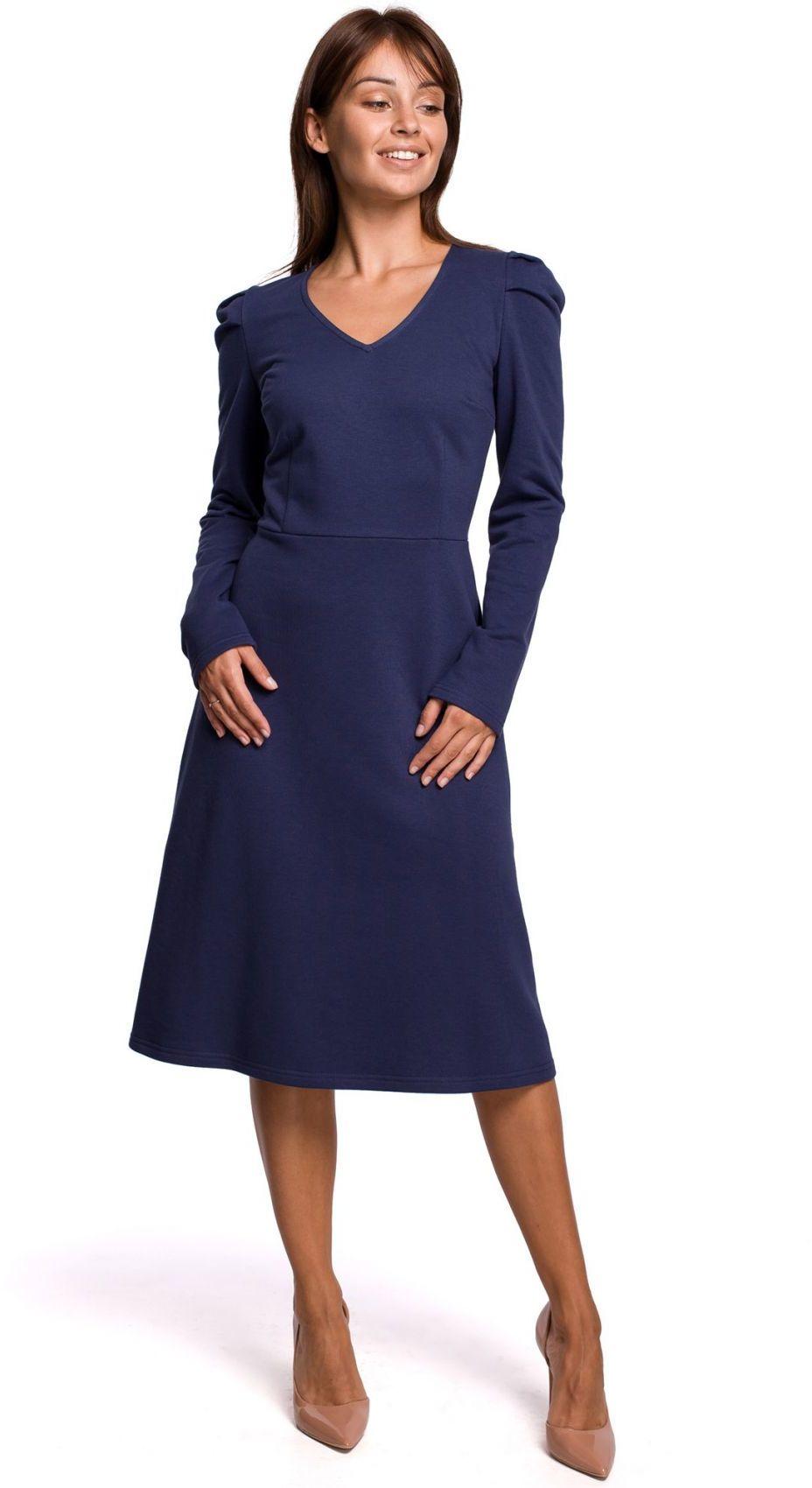 B162 Sukienka z bufkami - niebieska