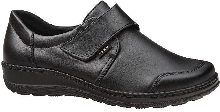 Półbuty na rzepy AXEL Comfort 1705 Czarne K bardzo szerokie na Haluksy