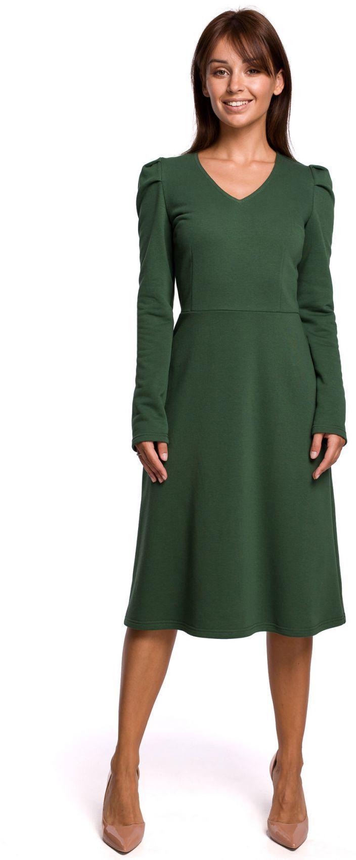 B162 Sukienka z bufkami - trawiasta