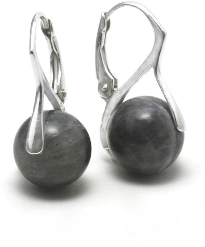 Kuźnia Srebra - Kolczyki srebrne, 23mm, Labradoryt, 4g, model
