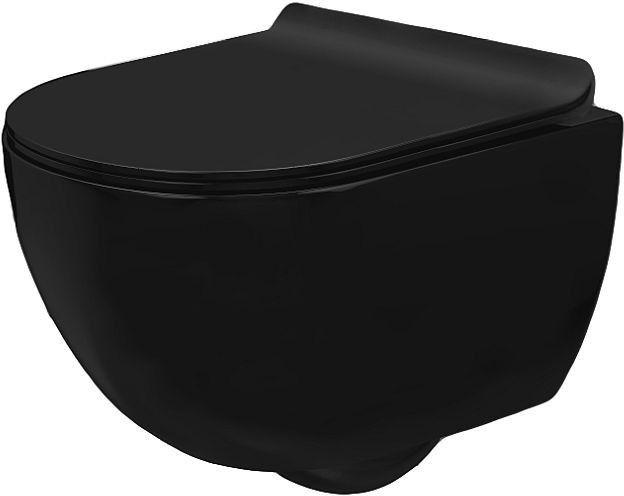 Miska WC podwieszana bezrantowa z deską slim Carlo Mini Rimless Black (REA-C8405)