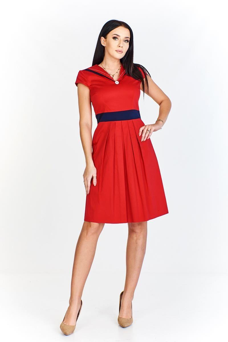 Sukienka FSU265 CZERWONY GRANATOWY
