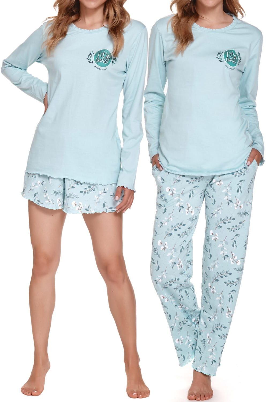 Bawełniana piżama damska Dn-nightwear PM.4354 niebieska 3-PACK
