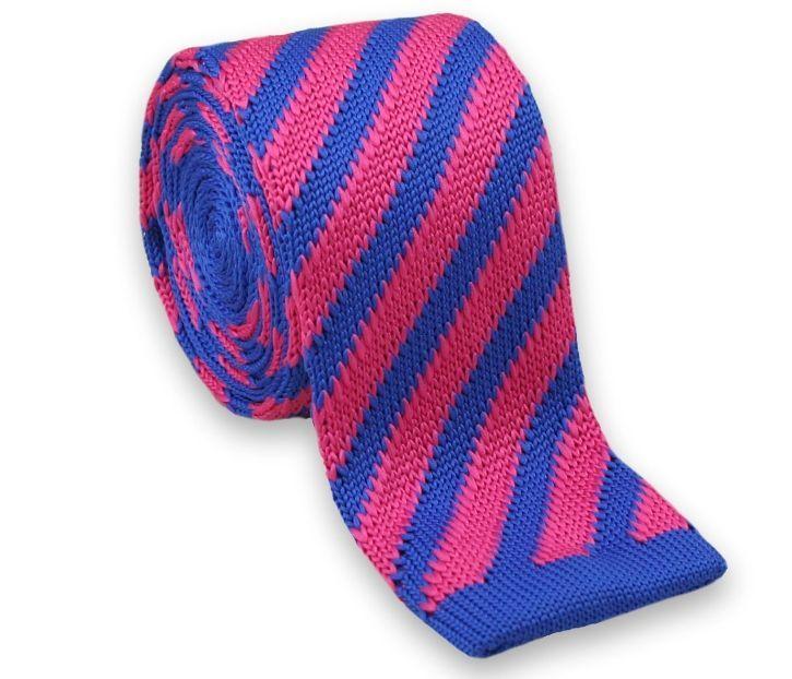 Dziergany Krawat Męski KNIT, Casual - Chattier- Kolorowy, Niebiesko-Różowy KRCH0978