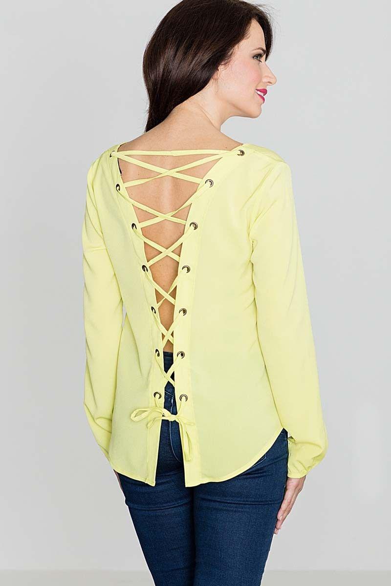 Modna żółta bluzka z dekoltem v  sznurowana na plecach