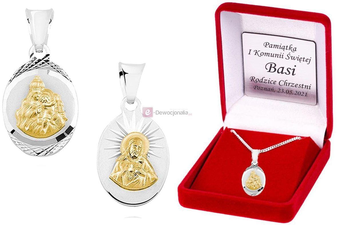 Srebrny (pr.925) pozłacany medalik Matka Boska SZKAPLERZ/Serce Jezusa łańcuszek DEDYKACJA - Pamiątka Prezent