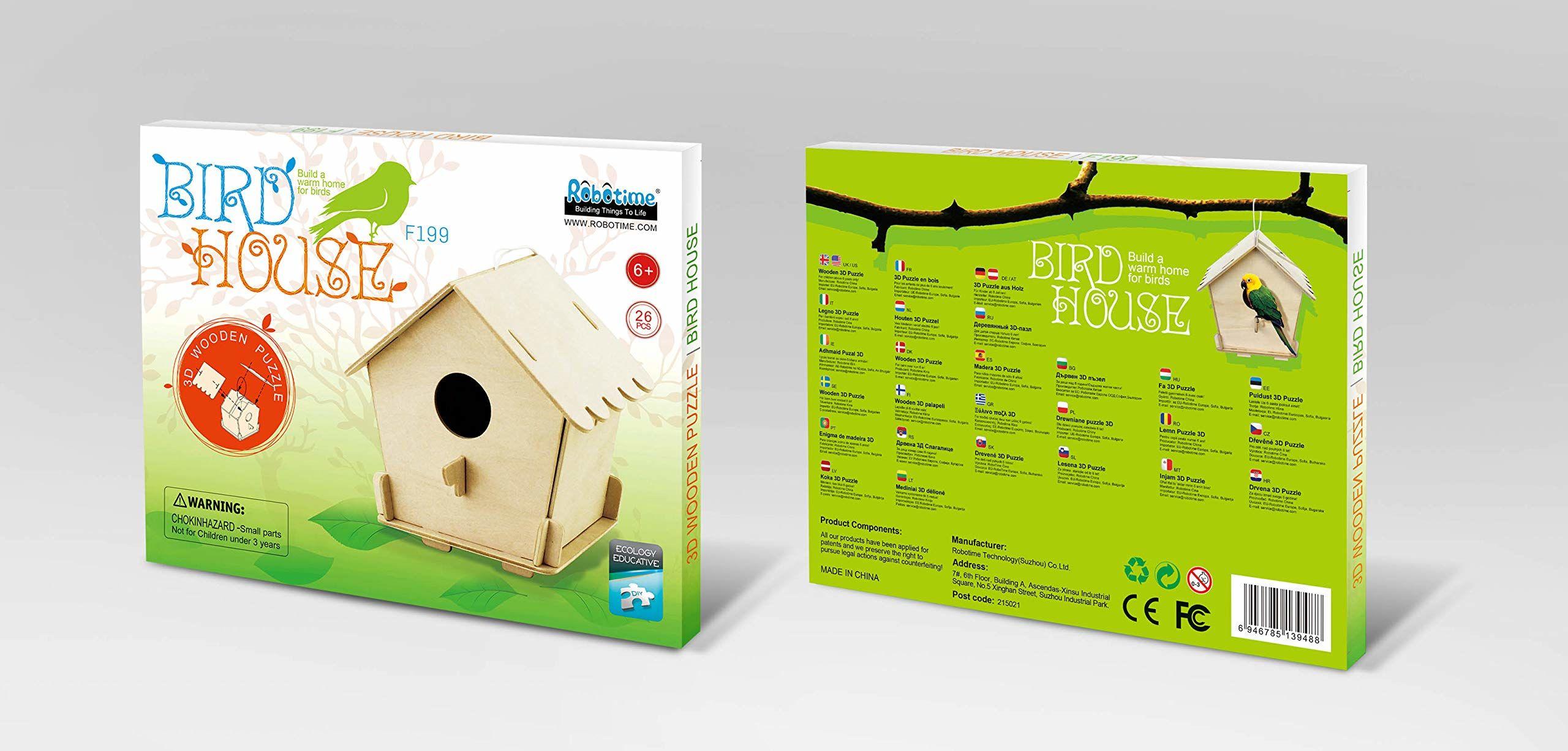 Robo Time F198 11 sztuk Domek dla ptaków 3 3D łamigłówki wielokolorowe