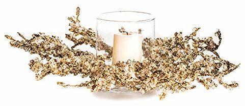 EuroCinsa Ref. 70676C15 Boże Narodzenie matowy świecznik, złoty, pudełko 1, tworzywo sztuczne/szkło, 35 cm